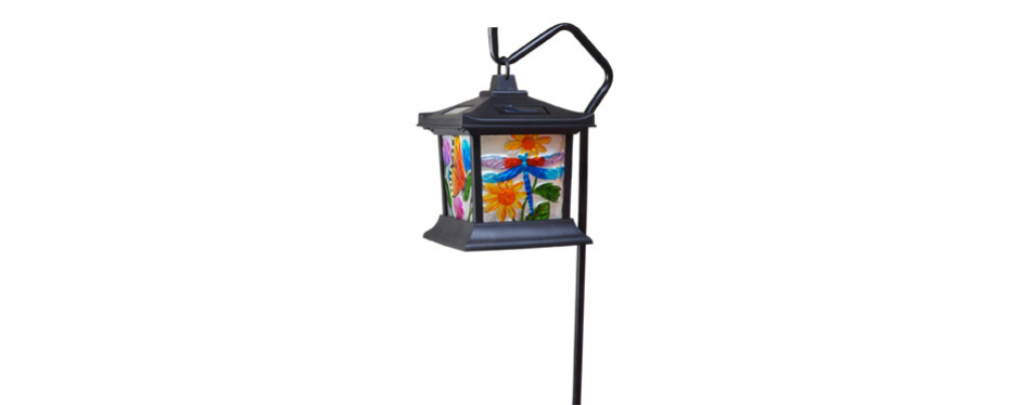 moonrays solar powered hanging floral stained glass led light