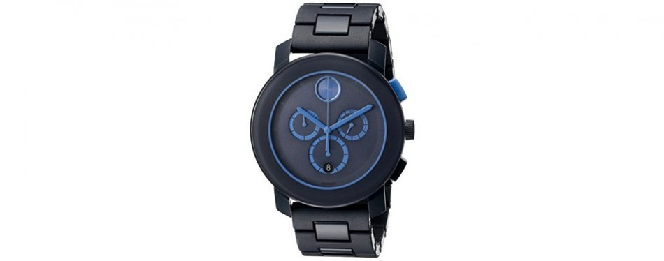 movado blue quartz watch