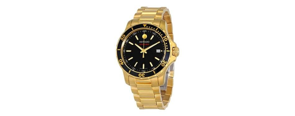 movado series 800 black dial yellow gold pvd men's watch