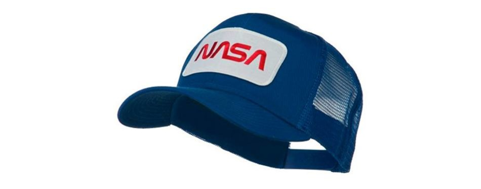 nasa logo embroidered patched mesh back cap - royal osfm