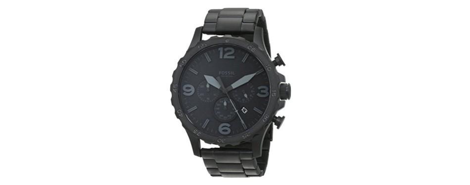 nate blacktone steel bracelet watch