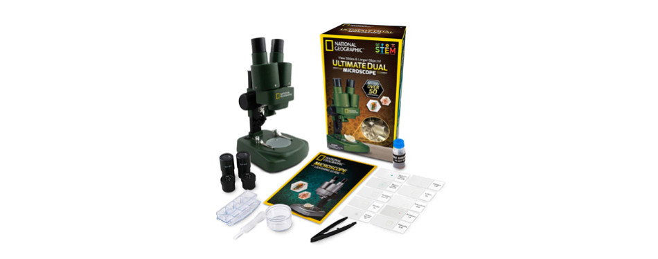 national geographic dual led student microscope science kit