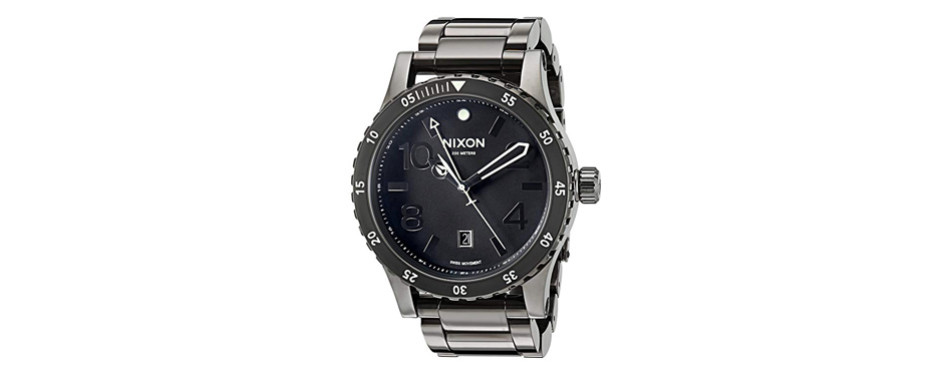 nixon men's 'diplomat ss' swiss quartz stainless steel watch