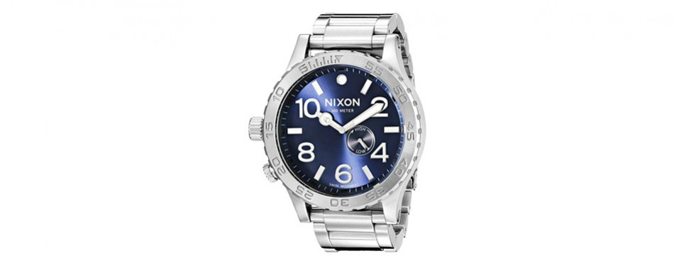 nixon men's tide analog display swiss quartz silver-tone watch