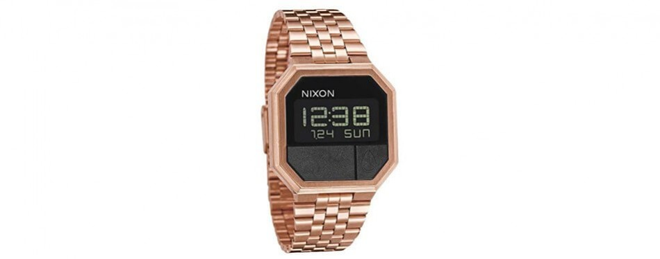 nixon re-run water resistant rose gold watch