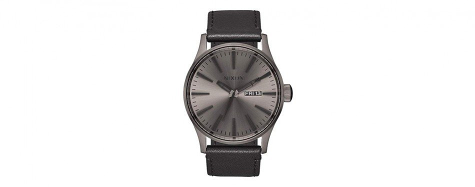 nixon sentry leather a1051531-00. gunmetal and black men's watch