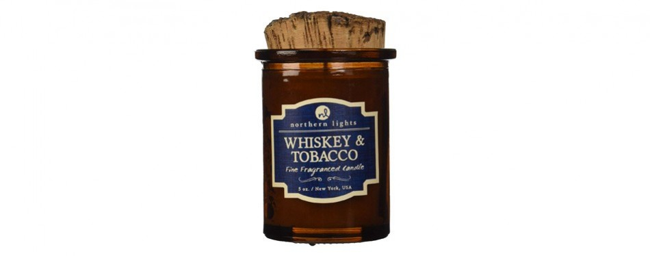 northern lights candles spirit jar candle, whiskey & tobacco, 5 oz