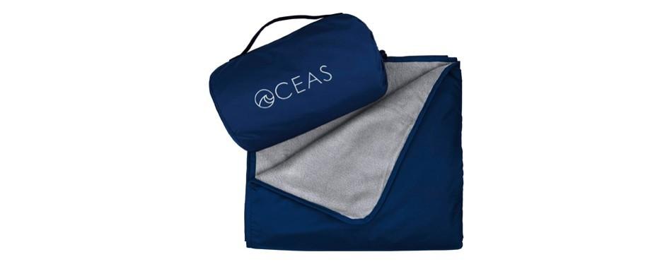 oceas outdoor waterproof camping blanket by warm fleece