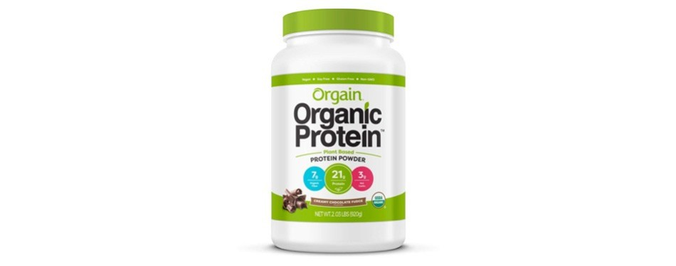 orgain organic-based protein powder: chocolate fudge