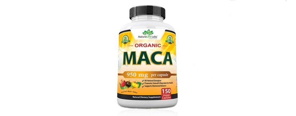 organic maca root black, red, yellow 950mg capsule by naturalife labs