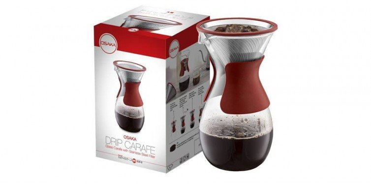 Osaka Pour Over Coffee Maker with Reusable Stainless-Steel Drip Filter and Glass Carafe