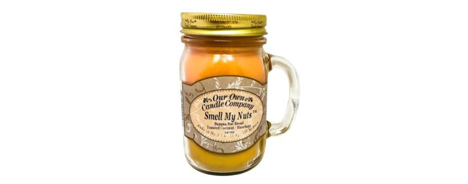 our own candle company - smell my nuts scented 13 oz mason jar candle