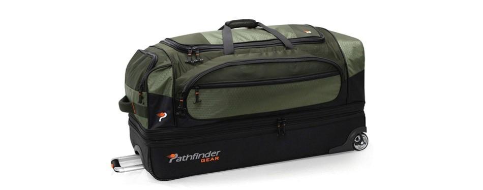 pathfinder gear 36 inch rolling drop bottom rolling duffel bag