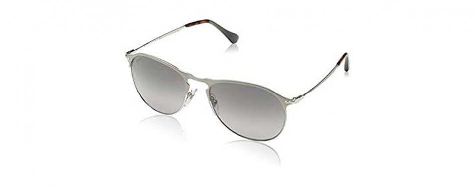 persol silver/green metal polarized aviator sunglasses