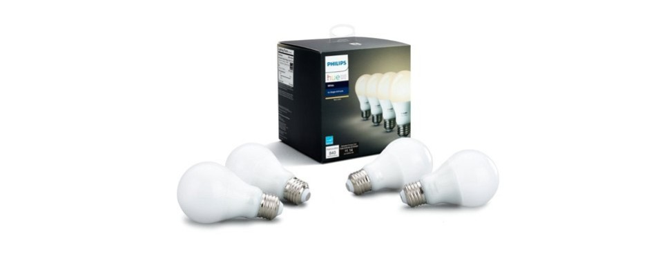 philips hue white a19 4-pack 60w equivalent dimmable led smart bulbs