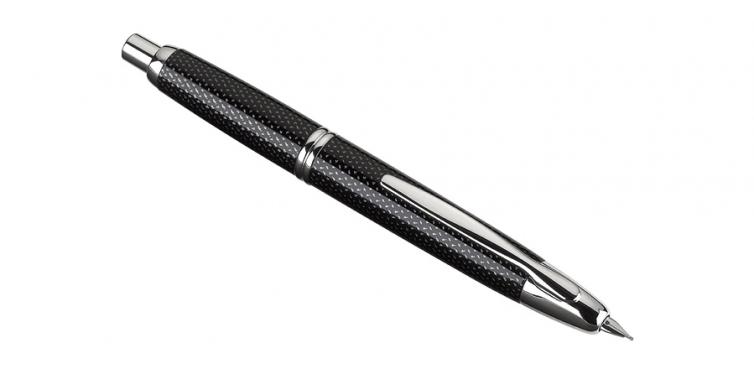 Pilot Vanishing Point Collection Retractable Fountain Pen, Black Carbonesque with Rhodium Accents, Blue Ink, Medium Nib