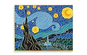 pinsanity van gogh starry night painting enamel lapel