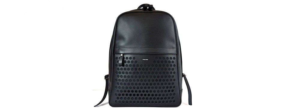 police genuine leather backpack