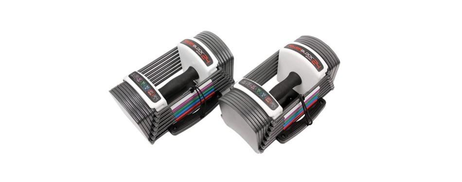 power block gf-spdblk24 adjustable speedblock dumbbells (pack of 2), black, 24lb.