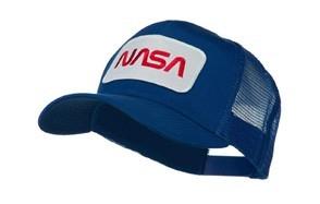 nasa logo embroidered patched mesh back cap - royal osfm