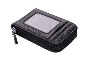 bakun premium leather slim zipper wallet for men