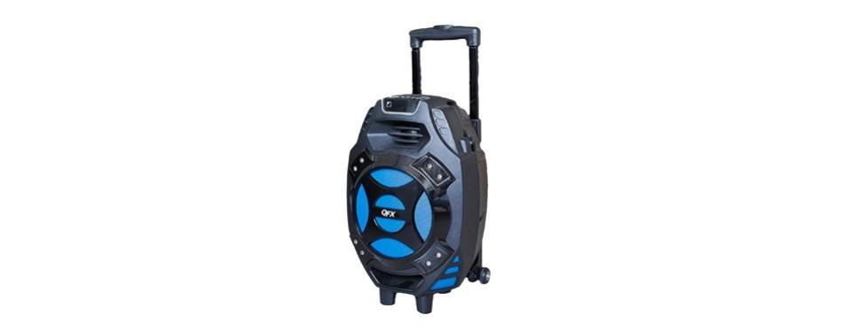 qfx pbx 61081bt bl portable bluetooth party speaker
