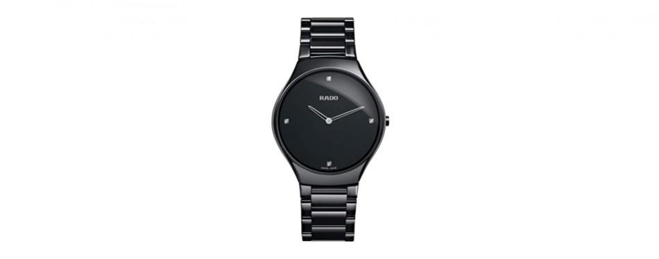 rado black dial stainless steel watch
