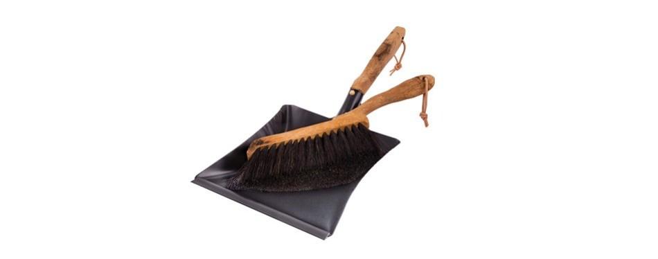 redecker vintage line horsehair hand brush and dust pan set