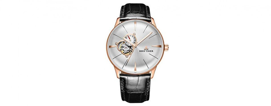 Reef Tiger Luxury Automatic Watches Mens Genuine Leather Strap Rose Gold Convex Lens Watches RGA8239