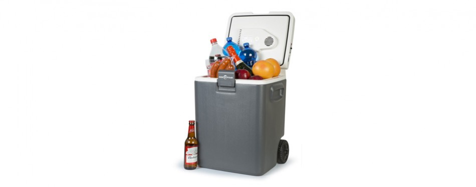 rockpals 12v plug-in electric cooler on wheels & handle