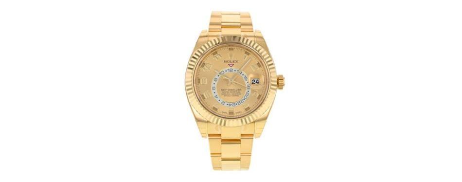 rolex sky dweller 18k yellow gold men's watch