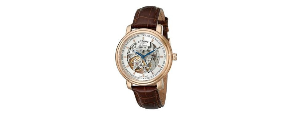 rotary men's analog display swiss automatic skeleton watch