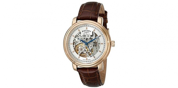 Rotary Men's Analog Display Swiss Automatic Skeleton Watch
