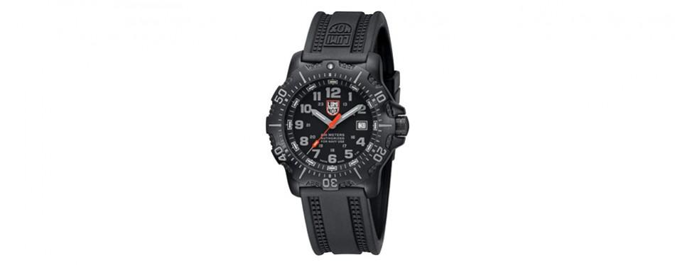 sea anu black rubber watch