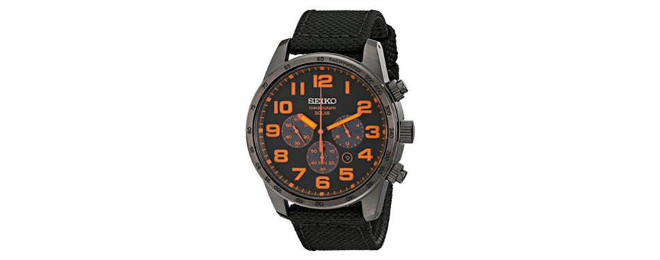 seiko black ion nylon solar chronograph watch