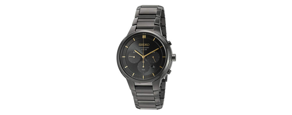 seiko charcoal gold chronograph watch