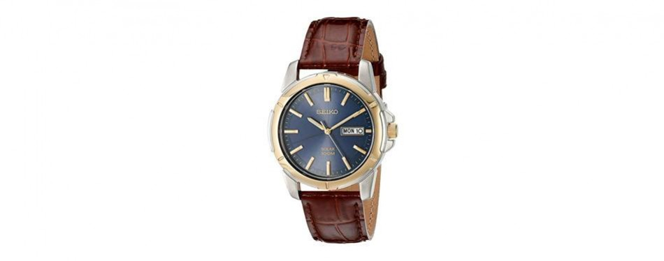seiko classic stainless steel and leather watch