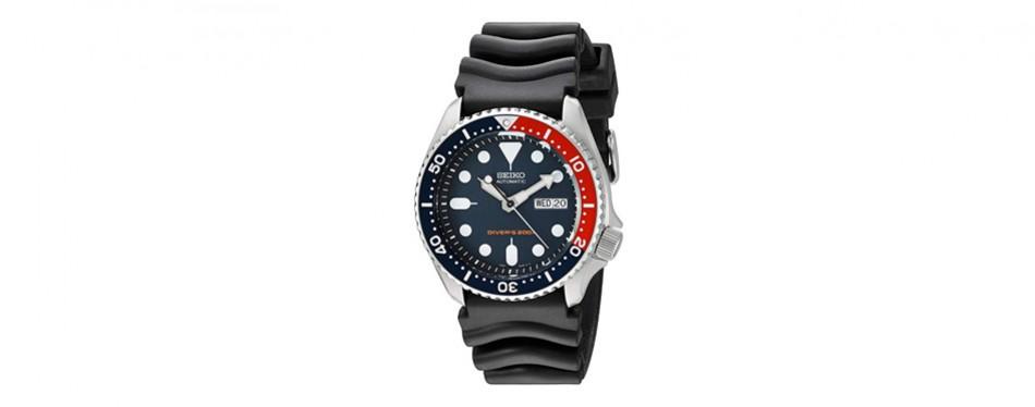 seiko diver's deep blue dial watch