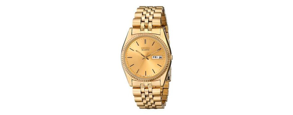 seiko gold-tone stainless steel watch