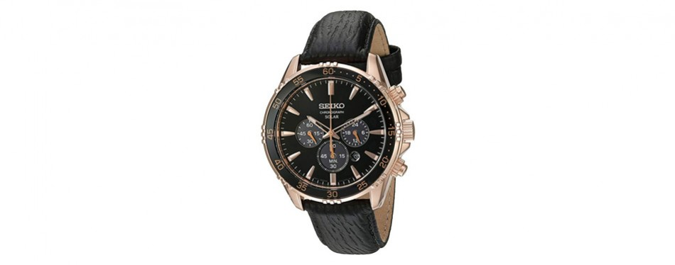 seiko men's gold and black chronograph