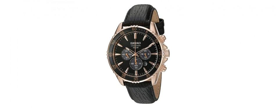 seiko men's gold and black chronograph