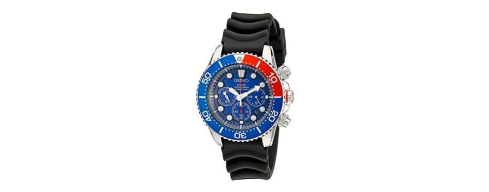 seiko men's silvertone solar chronograph dive watch