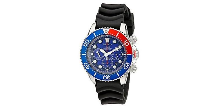 seiko mens silvertone solar chronograph dive watch