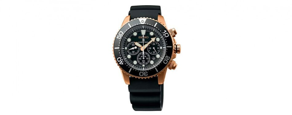 seiko prospex sea diver's chronograph solar sports watch rose gold