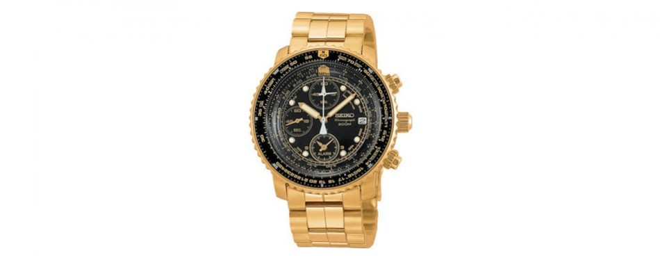 seiko quartz gold-tone steel sport watch