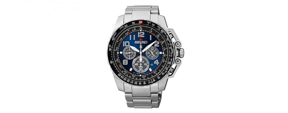 seiko silvertone chronograph solar watch