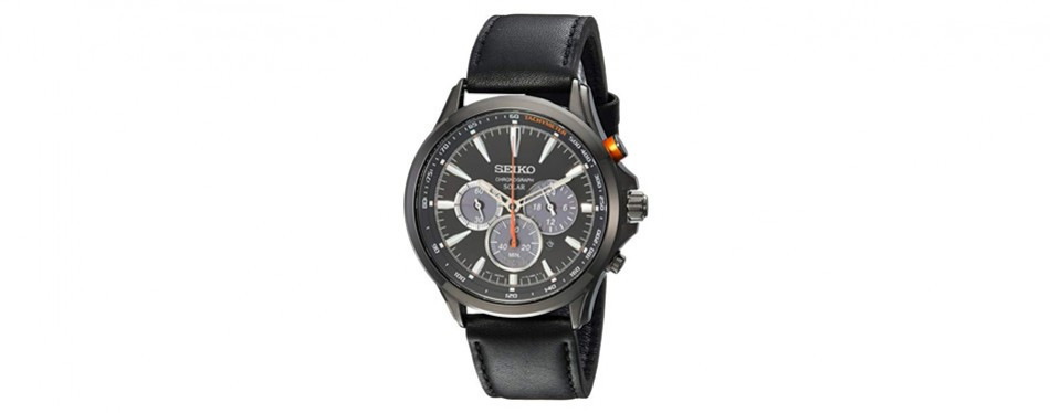 seiko solar chronograph in steel and leather