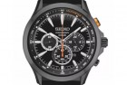 seiko solar chronograph black leather watch