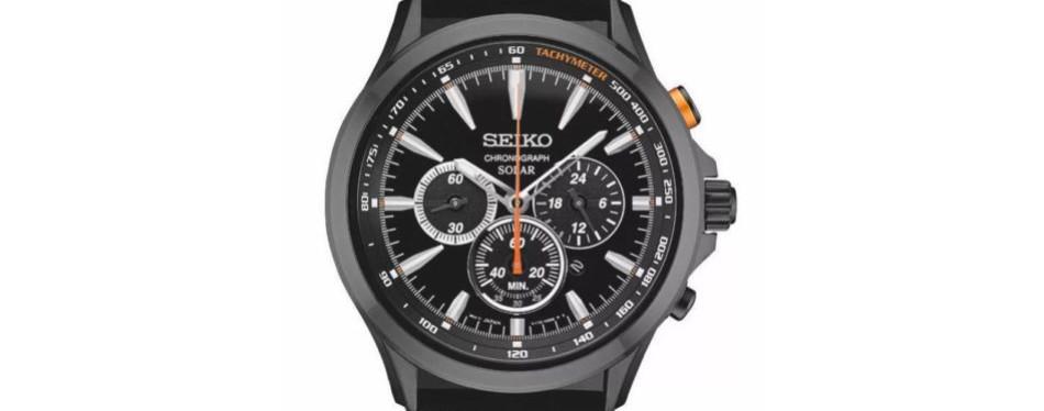 seiko solar chronograph black leather watch