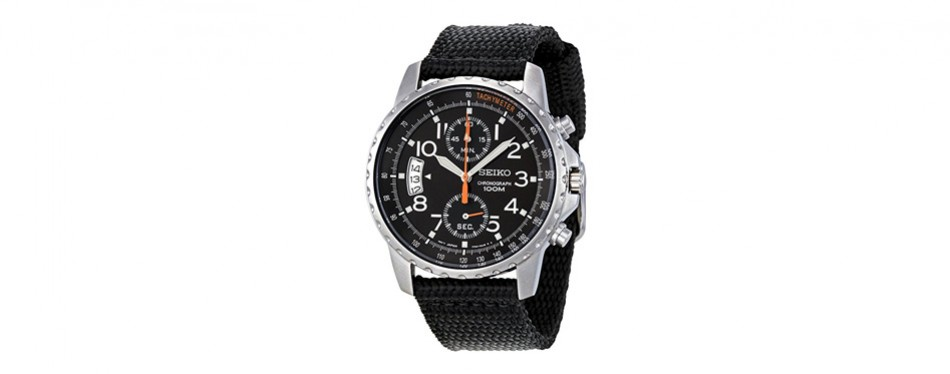 seiko stainless steel dual subdial chronograph watch